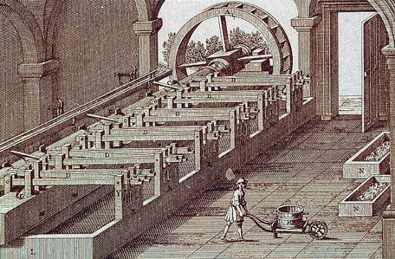 Толчея в истории бумаги, один из первых механизмов, облегчающих труд